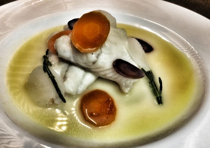 The turbot of the chef Daniel Canzian created for livestreamers