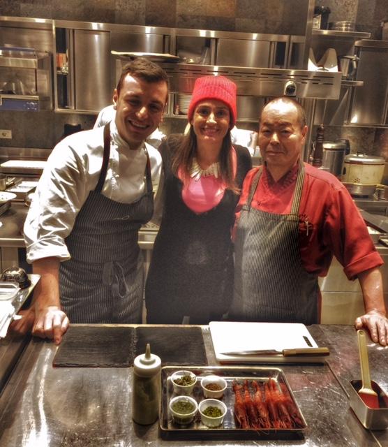 Rossella Canevari e gli chef Michele Biassoni e Haruo Ishikawa di Iyo